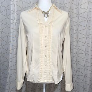 Rena Rowan Women Ivory Long Sleeve Blouse